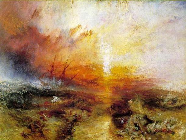 """La Tempesta, William Turner - ESERCIZI DI SFUMATURE DIPINTE dalla Tempesta  al Tramonto   di William Turner  Nella loro complessità visiva, gli elaborati degli studenti costituiscono una somma di sensibilità e variazioni musicali capaci di aprire """"altri varchi"""" nell' infinito  di Turner."""